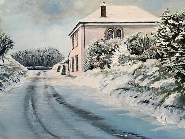 Art in Pembrokeshire: Snowy School House by Pembrokeshire Artist Jill Jones